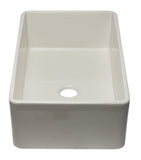 ALFI brand AB3320SB-B 33 inch Biscuit Reversible Single Fireclay Farmhouse Kitchen Sink Angled Side
