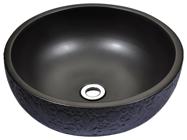 "ANZZI 16"" Stellar Series Ceramic Vessel Sink in Black, LS-AZ174"