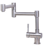 ALFI Solid Brushed Stainless Steel Retractable Single Hole Kitchen Faucet, AB2038-BSS