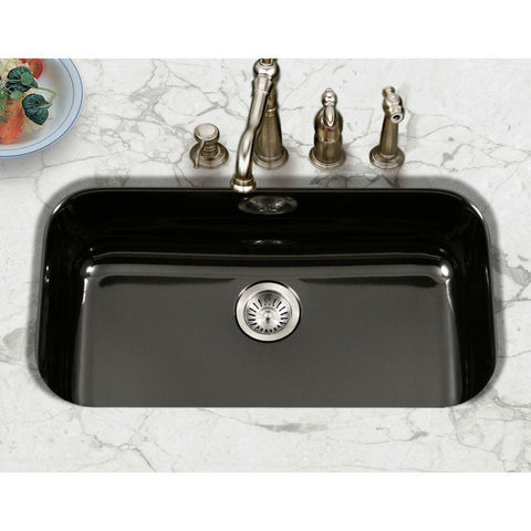 "Houzer 31"" Porcelain Enamel Steel Undermount Single Bowl Kitchen Sink, Black, PCG-3600 BL - The Sink Boutique"