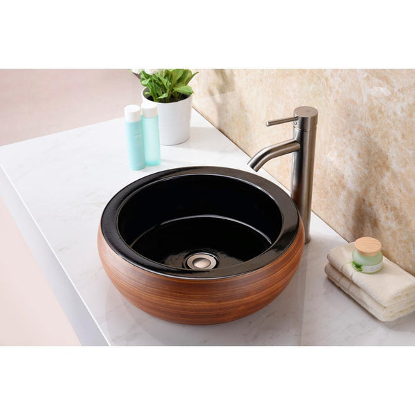 "16"" Regalia Series Vessel Sink in Black/Swirled Fusion, LS-AZ190 - The Sink Boutique"