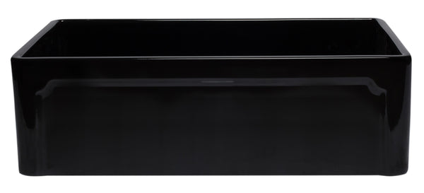 "ALFI 33"" Single Bowl Fireclay Farmhouse Apron Sink, Black Gloss, AB3320SB-BG"