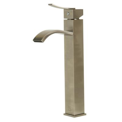 ALFI Tall Brushed Nickel Tall Square Body Curved Spout Single Lever Bathroom Faucet, AB1158-BN - The Sink Boutique