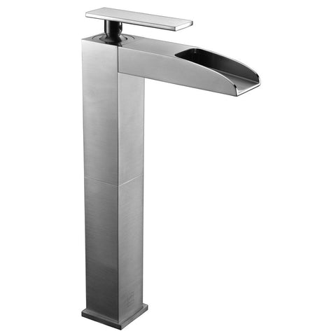 ALFI Brushed Nickel Single Hole Tall Waterfall Bathroom Faucet, AB1597-BN - The Sink Boutique