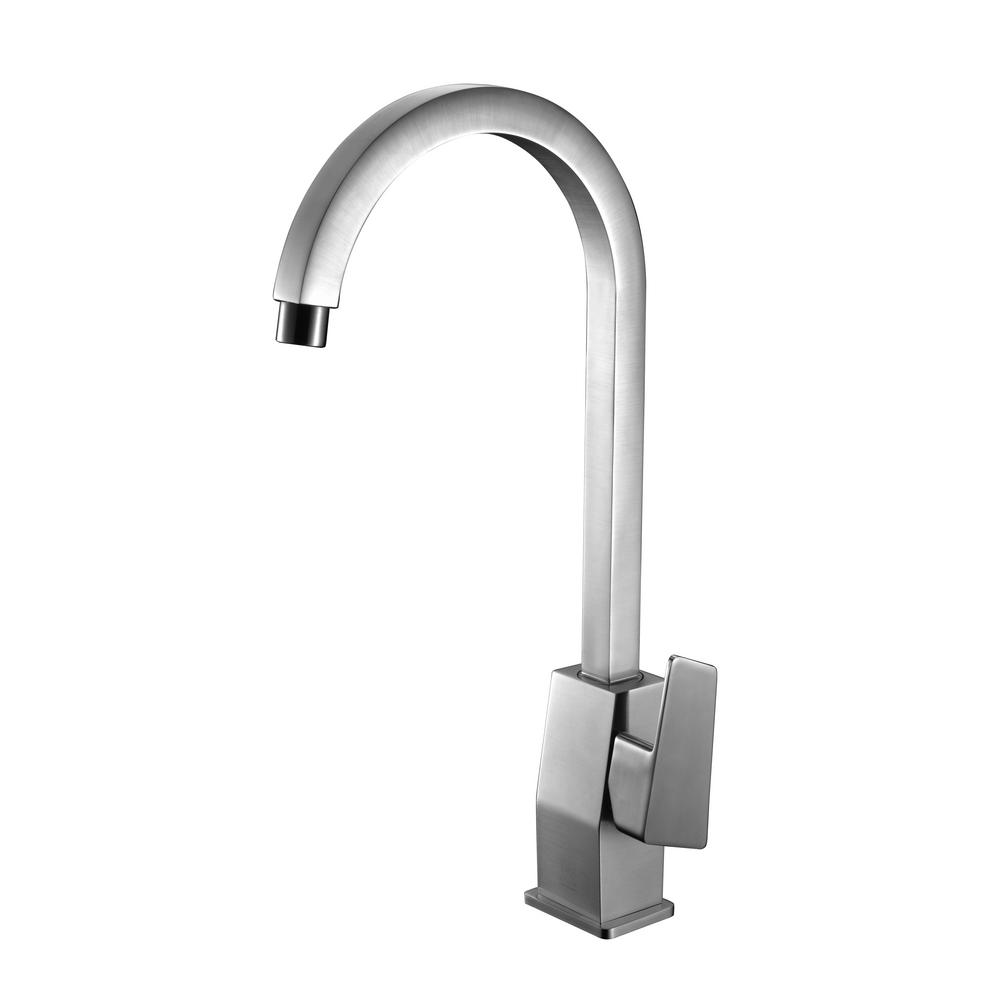 ALFI Brushed Nickel Gooseneck Single Hole Bathroom Faucet, AB3470-BN ...