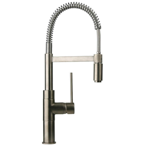 Latoscana Elba Single Handle Kitchen Faucet with Spring Spout, Brushed Nickel, 78PW556 - The Sink Boutique
