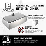 "ANZZI Elysian 36"" Stainless Steel Single Bowl Farmhouse Kitchen Sink, K-AZ3620-1A - The Sink Boutique"