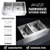 ANZZI Elysian Series 36 in. Farm House 40/60 Dual Basin Handmade Stainless Steel Kitchen Sink K-AZ3620-3B