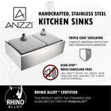 "ANZZI Elysian 33"" Farmhouse Stainless Steel 60/40 Double Bowl Kitchen Sink with Garbage Disposal KAZ33204A - The Sink Boutique"