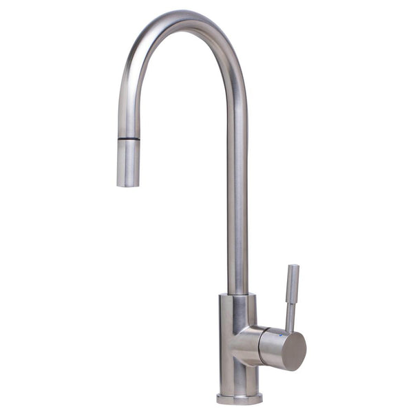 ALFI Solid Brushed Stainless Steel Single Hole Pull Down Kitchen Faucet, AB2028-BSS