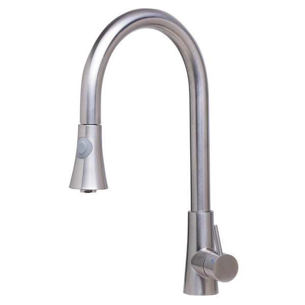 ALFI Solid Brushed Stainless Steel Pull Down Single Hole Kitchen Faucet, AB2034-BSS