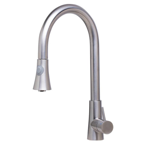 ALFI Solid Brushed Stainless Steel Pull Down Single Hole Kitchen Faucet, AB2034-BSS - The Sink Boutique