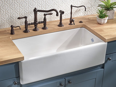 "Rohl Shaws 36"" Fireclay Single Bowl Farmhouse Apron Kitchen Sink, White, RC3618WH - The Sink Boutique"