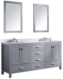 "ANZZI Chateau 72"" W x 36"" H Bathroom Vanity with Carrara White Marble Vanity Top in Carrara White with White Basins and Mirrors"