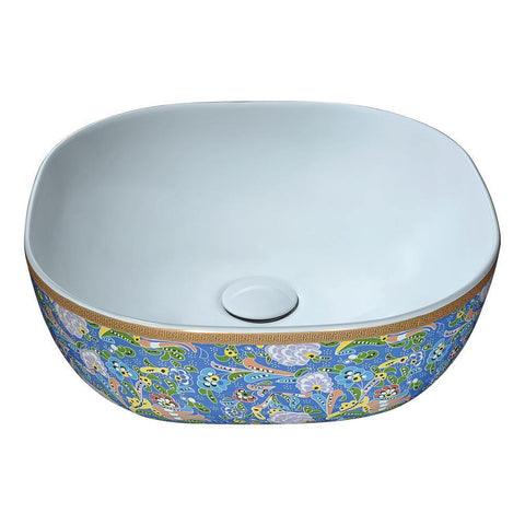 "16"" Byzantian Series Ceramic Vessel Sink in Byzantine Mosaic Finish, LS-AZ244 - The Sink Boutique"