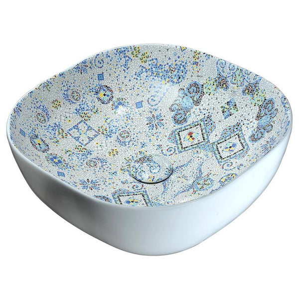 "16"" Byzantian Series Ceramic Vessel Sink in Byzantine Mosaic Finish, LS-AZ246 - The Sink Boutique"