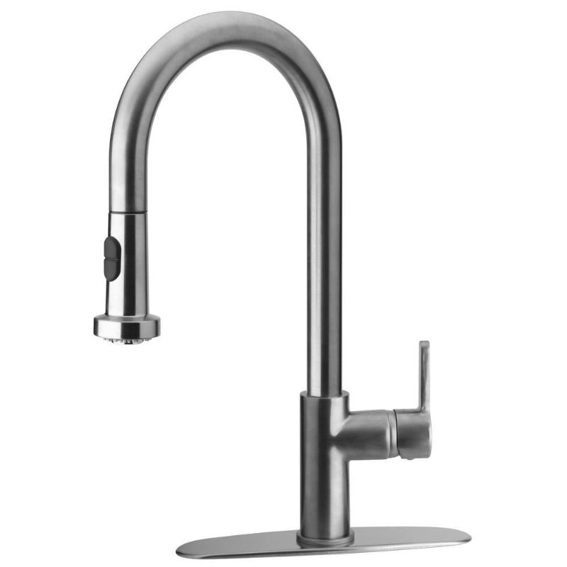 Single Handle Pull Down Sprayer Kitchen Faucet In Chrome Interior