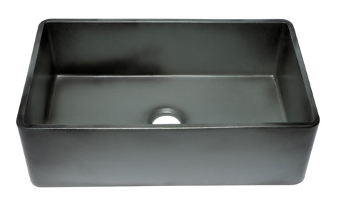 "ALFI brand 33"" Fireclay Farmhouse Sink, Concrete, ABCO3320SB"