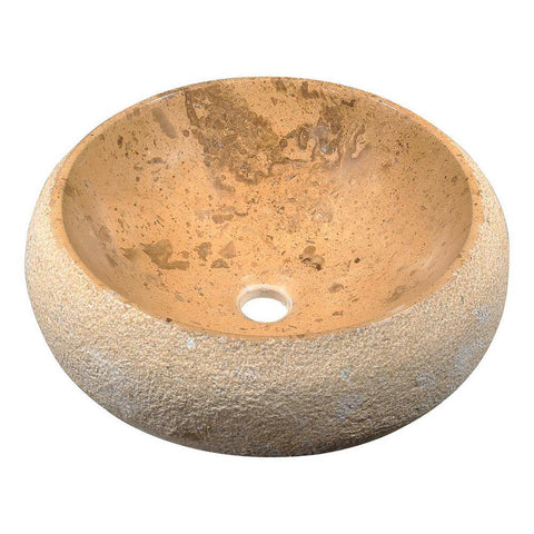 "16"" Leopards Ash Vessel Sink in Classic Cream Marble, LS-AZ225 - The Sink Boutique"
