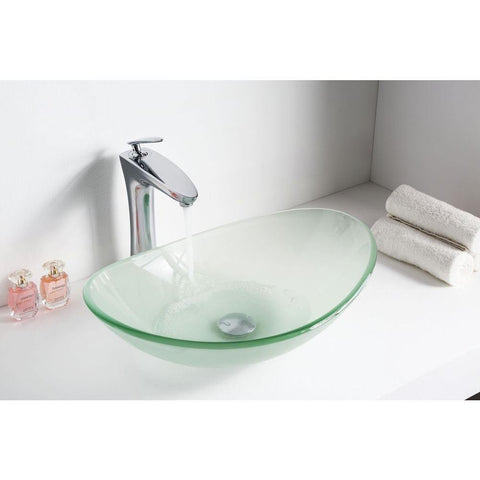 "14"" Forza Series Deco-Glass Vessel Sink in Lustrous Frosted - The Sink Boutique"