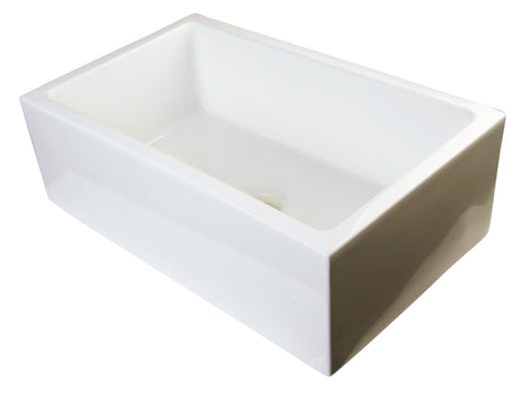 "ALFI brand AB3018SB-B  30"" Biscuit Smooth Apron Thick Wall Fireclay Single Bowl Farmhouse Sink"