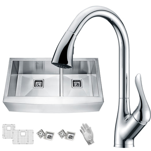 ANZZI Elysian Farmhouse Stainless Steel 36 in. 0-Hole 60/40 Double Bowl Kitchen Sink with Faucet