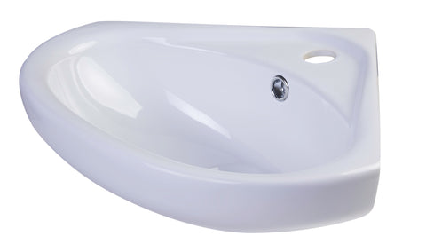 "ALFI 18"" White Corner Porcelain Wall Mounted Bath Sink, AB109"