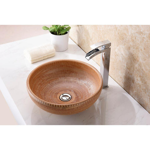 "15"" Earthen Series Vessel Sink in Creamy Beige, LS-AZ183 - The Sink Boutique"