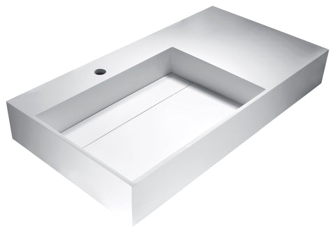 "ANZZI 35"" Urena Vessel Sink in Matte White, LS-AZ529"