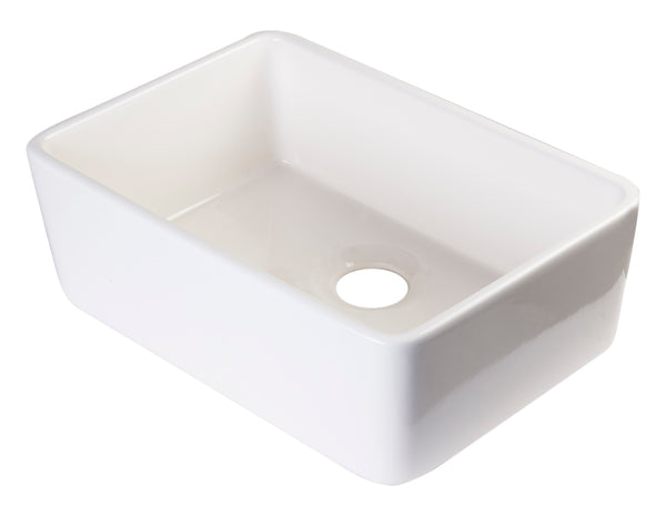 "ALFI brand AB503-B Biscuit 23"" Smooth Apron  Fireclay Single Bowl Farmhouse Kitchen Sink"