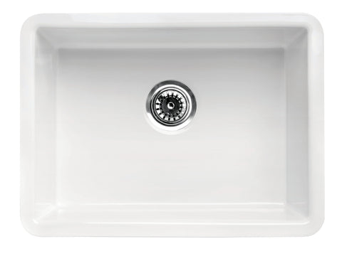 "ALFI brand AB2317 23"" White Fireclay Undermount Kitchen Sink"