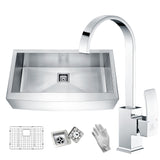 ANZZI Elysian Farmhouse Stainless Steel 36 in. 0-Hole Single Bowl Kitchen Sink with Faucet