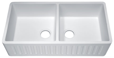 ANZZI Roine Farmhouse Reversible Apron Front Man Made Stone 35 in. Double Basin Kitchen Sink in White
