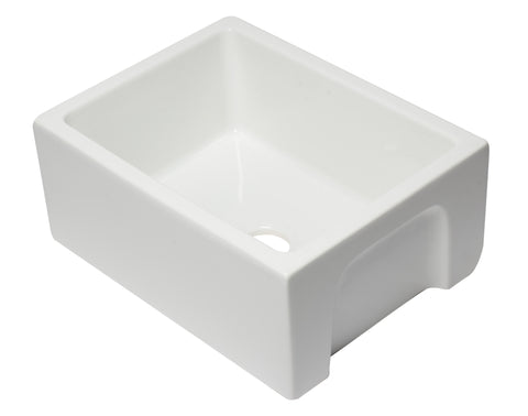 ALFI brand AB2418HS-W 24 inch White Reversible Smooth / Fluted Single Bowl Fireclay Farmhouse Sink