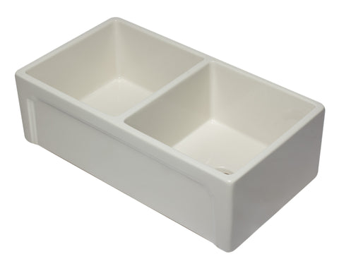 "ALFI 33"" Double Bowl Fireclay Farmhouse Apron Sink, Biscuit, AB3318DB-B Top Angled View with Decorative Lip Front"