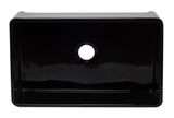 ALFI brand AB3320SB-BG 33 inch Black Reversible Single Fireclay Farmhouse Kitchen Sink Top