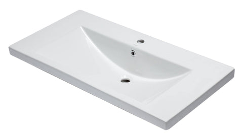 "Eago 19"" Porcelain Bathroom Sink, White, BH002"