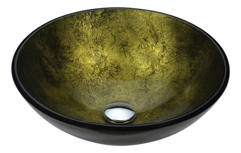 "ANZZI 16"" Posh Series Deco-Glass Vessel Sink in Verdure Gold, LS-AZ289"