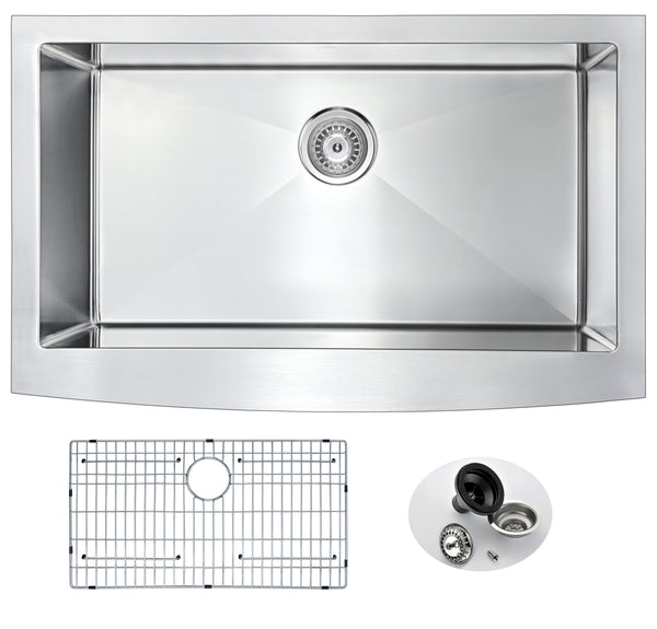 ANZZI Elysian Farmhouse Stainless Steel 32 in. 0-Hole Single Bowl Kitchen Sink in Brushed Satin K-AZ3320-1A Set