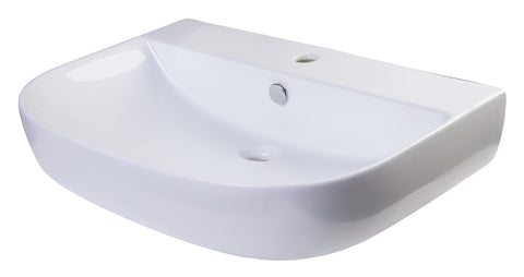 "ALFI 28"" White D-Bowl Porcelain Wall Mounted Bath Sink, AB112"