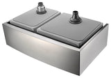 "ANZZI Elysian 33"" Stainless Steel 60/40 Double Bowl Farmhouse Apron Sink in Brushed Satin K-AZ3320-4A - The Sink Boutique"