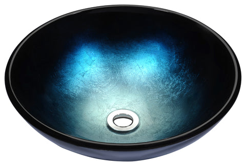 "ANZZI 16"" Stellar Series Deco-Glass Vessel Sink in Deep Sea, LS-AZ167"