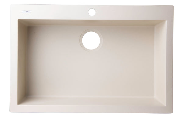 "ALFI Biscuit 30"" Drop-In Single Bowl Granite Composite Kitchen Sink, AB3020DI-B"