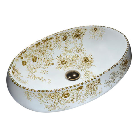 "23"" Breeze Series Ceramic Vessel Sink in Floral Gold, LS-AZ267 - The Sink Boutique"