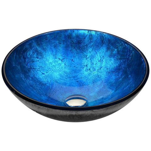 "16"" Arc Series Vessel Sink in Frosted Blue, LS-AZ196 - The Sink Boutique"