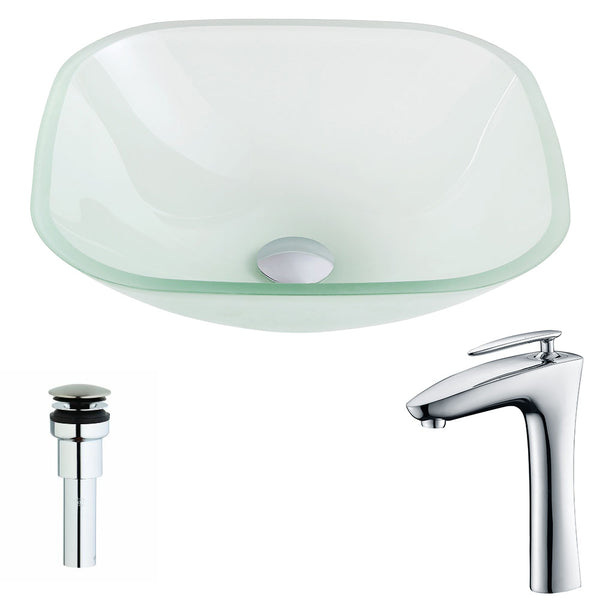 "ANZZI 16"" Vista Series Deco-Glass Vessel Sink in Lustrous Frosted with Fann Faucet in Polished Chrome, LSAZ081-022"