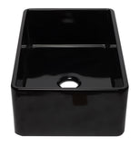 ALFI brand AB3320SB-BG 33 inch Black Reversible Single Fireclay Farmhouse Kitchen Sink Side