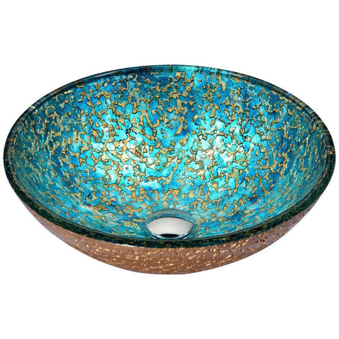 "16"" Chrona Series Vessel Sink in Gold/Cyan Mix, LS-AZ209 - The Sink Boutique"