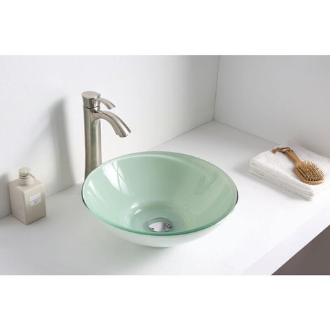 "15"" Sonata Series Deco-Glass Vessel Sink in Lustrous Light Green Finish - The Sink Boutique"