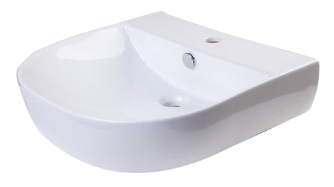 "ALFI 20"" White D-Bowl Porcelain Wall Mounted Bath Sink, AB110"